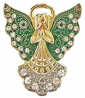 Christmas Holiday Angel Pin w/ Rhinestones - Sandy Hook Green Wings