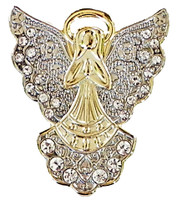 Christmas Holiday Angel Pin w/ Rhinestones - Sandy Hook Silver Wings