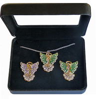 Christmas Holiday Angel Double Pin & Necklace Box Set