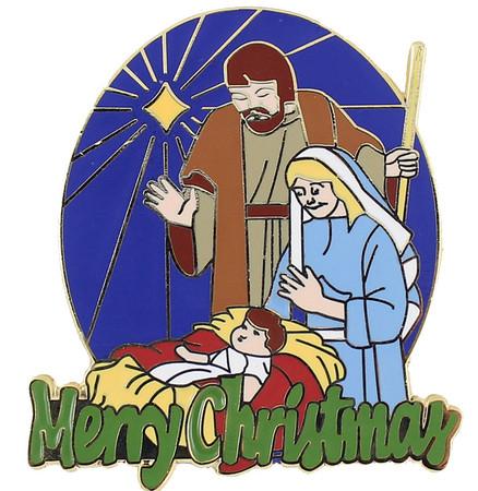 Merry Christmas Nativity Lapel Pin