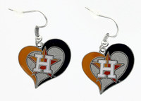 Houston Astros Heart Earrings