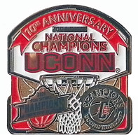 Connecticut Huskies Men's & Women's Basketball National Champs 10th Ann. Pin