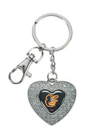 Baltimore Orioles Glitter Stone Heart Key Chain