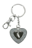Chicago White Sox Glitter Stone Heart Key Chain