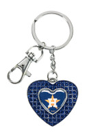 Houston Astros Glitter Stone Heart Key Chain