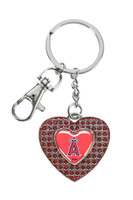 Los Angeles Angels Glitter Stone Heart Key Chain