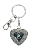 Miami Marlins Glitter Stone Heart Key Chain