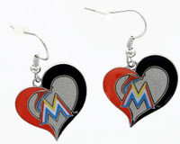 Miami Marlins Swirl Heart Earrings