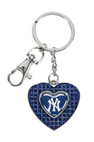 New York Yankees Glitter Stone Heart Key Chain