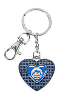 New York Mets Glitter Stone Heart Key Chain