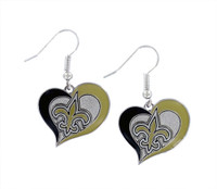 New Orleans Saints Swirl Heart Earrings