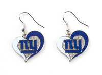 New York Giants Swirl Heart Earrings