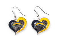 San Diego Chargers Swirl Heart Earrings