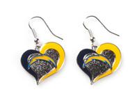 Los Angeles Chargers Swirl Heart Earrings