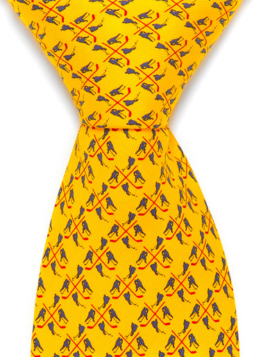 Yellow men's hockey tie with hockey players in navy blue