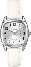 Carriage Womens Silvertone White Strap Watch