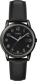 Timex Mens Black Leather Casual Watch