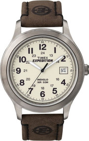Timex Mens Expedition Brown Leather Strap Watch T49870