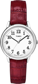 Timex Women's Easy Reader Red Leather Analog Quartz Watch