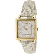 Timex Women's Gold-Tone Square Watch with Metallic Leather Band (T2P379)
