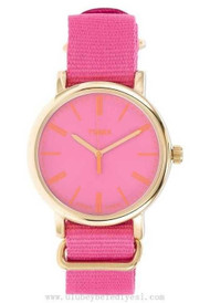 Timex Womens Pink Weekender Nylon Strap Watch T2P364