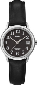Timex Womens Silvertone Black Strap Watch