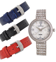 Croton Ladies Silvertone Set CZ Watch Set with Interchangeable Leather strap