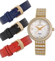 Croton Ladies Silvertone Set CZ Watch Set with Interchangeable Leather strap