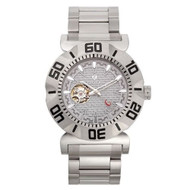 Croton Mens Carbon Fiber Grey Skeleton Automatic Watch