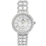 Ladies .925 Sterling Silver Watch with set CZ's and Mother of Pearl Dial