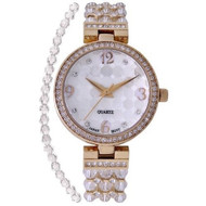 Ladies CLear Swarovski Bead Watch with Austrian Crystals and Coordinated Bracelet (CN207563YLCR)