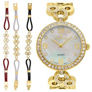 Ladies Goldtone Mother of Pearl Dial Watch with Crystal Bezel & Bracelet Set (CN407567YLMP)