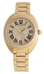 Ladies Goldtone Swiss Quartz Watch with Set CZ Bezel and Pave Dial