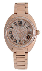 Ladies Rosetone Swiss Quartz Watch with Set CZ Bezel and Pave Dial