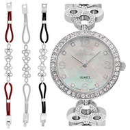 Ladies Silvertone Mother of Pearl Dial Watch with Crystal Bezel & Bracelet Set (CN407567RHMP)