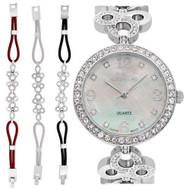 Ladies Silvertone Mother of Pearl Dial Watch with Crystal Bezel & Bracelet Set (CN407567RHMP)