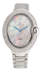 Ladies Silvertone Quartz Watch with Crystal Bezel & Mother of Pearl Dial
