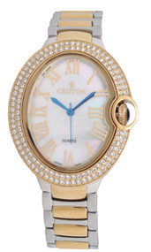 Ladies Twotone Quartz Watch with Crystal Bezel & Mother of Pearl Dial