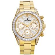 Men's Goldtone Multi-function Watch with Clear  CZ Baguettes on Bezel