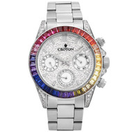 Men's Silvertone Multi-function Watch with Multi-colored CZ Baguettes on Bezel