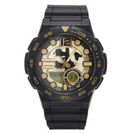 Casio Men's Ana-Digi Dive Style Watch AEQ100BW-9AVCF World Dial Black Gold
