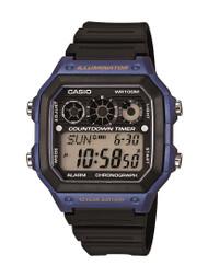 casio mens analog digital dive style  aeqbw avcf black gold stopwatchesworld