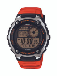 Casio Mens Silver Tone Red Multifunction Watch
