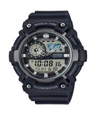 Casio Men's Analog Digital Sport Watch AEQ-200W-1AV World Time 100M Black