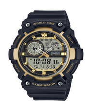 Casio Men's World Time Watch AEQ-200W-9AV Black Gold