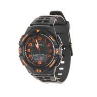 Casio Men's Slim Solar Multifunction Sport Watch AQS800W-1B2VCF Black Orange