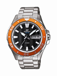 Casio Edifice Men's Chrono Watch EFM100D-1A4V Stainless Steel Orange Bezel