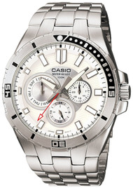 Casio Men's Stainless Steel Dive Watch MTD1060D-7AVDF White Dial 100M