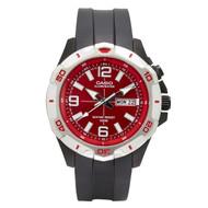 Casio Men's Super Illuminator Analog Watch MTD1082-4AVC Black Red