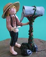 Amish Quilts - Amish boy at mail box